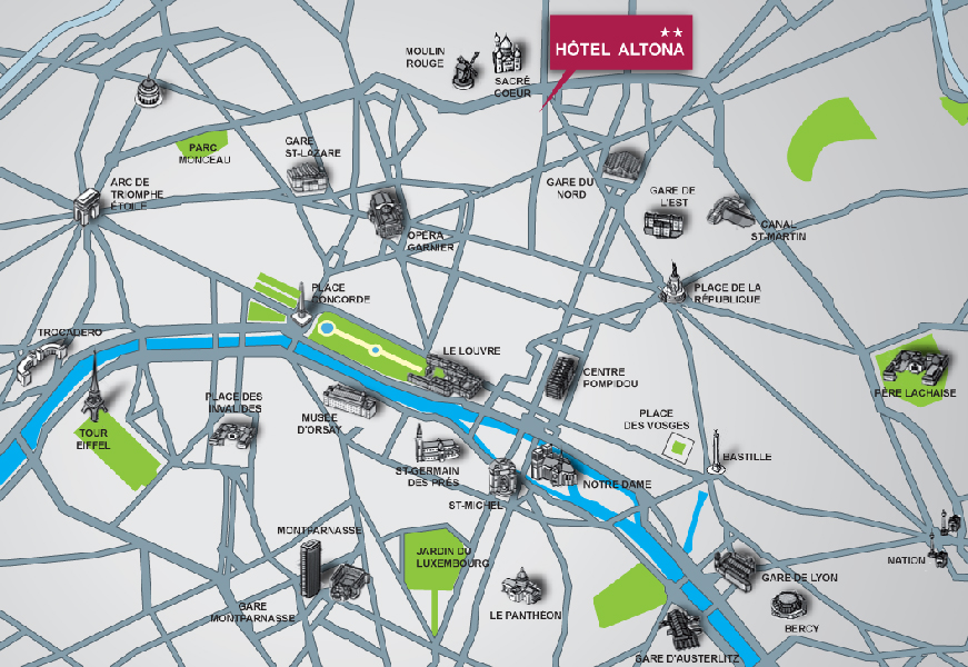 Contact directions hotel altona 2 stars hotel for Carte hotel france